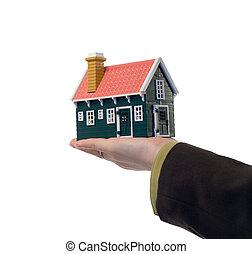 real, casa, -, propriedade, mão