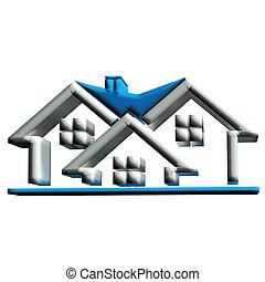 real, casas, 3d, propriedade, logotipo