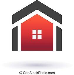 real, casas, imagem, propriedade, ícone
