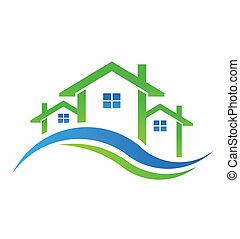 real, casas, propriedade, ícone