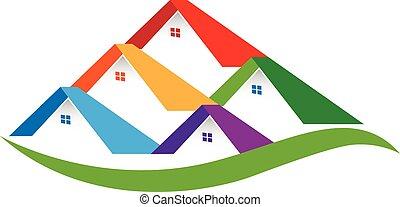 real, casas, propriedade, logotipo