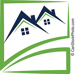 real, casas, swooshes, propriedade, logotipo