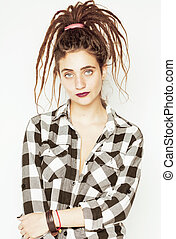 real caucasian woman with dreadlocks hairstyle funny...