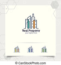 real, cidade, apartamento, conceito, propriedade, contratante, residência, vetorial, desenho, ícone, logotipo, propriedade, construção, scape., edifício.