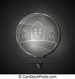 real, cinzento, propriedade, 10, eps, vidro, vetorial, experiência., ícone
