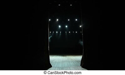 Real cloth stage curtain open. Curtain for theater, opera, ...