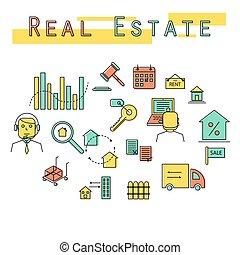real, conceito, illustration., propriedade, investimento, ícone