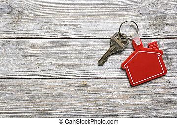 real, conceito, keychain, propriedade, casa, forma, tecla, vermelho