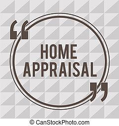 real, conceito, palavra, negócio, texto, appraisal., escrita home, determina, propriedade, avaliação, valor