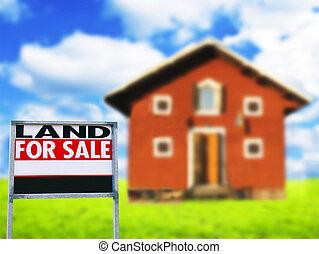 """real, conceito, propriedade, casa madeira, -, contra, sinal, """"land, sale"""""""