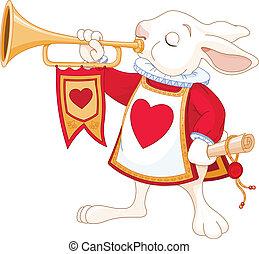 real, conejito, trompetista