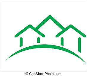 real, construção, propriedade, ícone