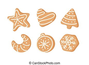 real, cookies., criativo, sweets., ilustração, mão, vetorial, gengibre, feriados, desenhado, caricatura, assar, natal, pão