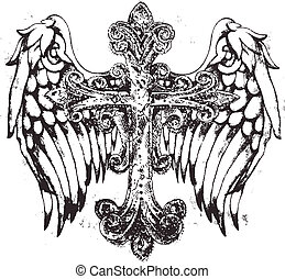 real, crucifixos, símbolo, com, asa