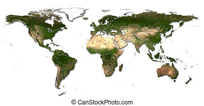 Real detail world map of continents. Isolated on white fone. Real colur of continents. Scene reconstructed from real NASA foto of earth.