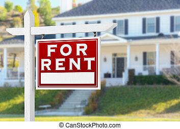 real, direita, propriedade, house., sinal, enfrentando, aluguel, frente