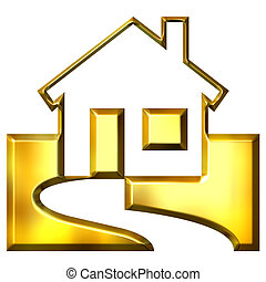 real, dourado, propriedade, 3d