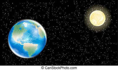 real earth and moon on space star background