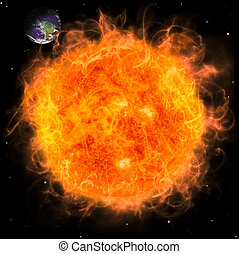 Real Earth Planet in space. Red fire sun.