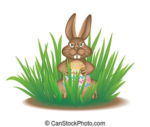 Real Easter Bunny in the grass.