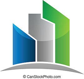 real, edifícios, propriedade, modernos, vetorial, desenho, logotipo, cartão, ícone