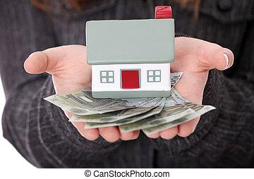 real, empréstimo, conceito, propriedade