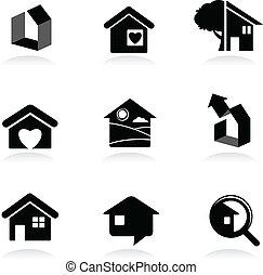 real-estate, ícones, e, logotipos