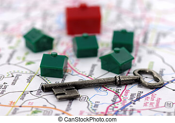 Real Estate 2 - Photo of a Key, Map and Houses