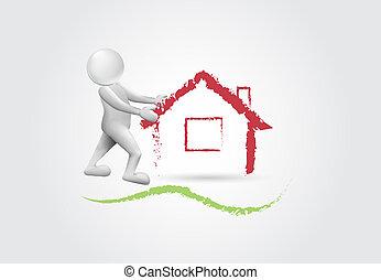 real estate, -3d, weißes, leute, logo
