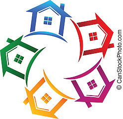 Real estate 5 houses icon - Vector real estate 5 houses icon