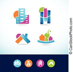 Real estate abstract logo icon set