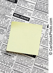 Real Estate ad - Fake Classified Ad, newspaper and sticky...