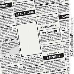Real Estate Ad - Fake Classified Ad, newspaper, business...