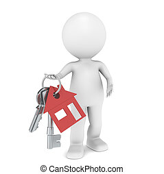 Real Estate Agent - 3D little human character holding a pair...