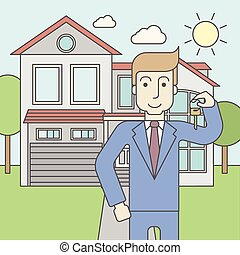 Real estate agent. - A caucasian real estate agent holding ...