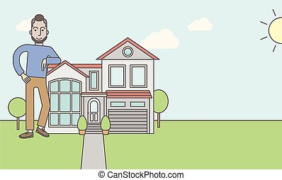Real estate agent. - A caucasian real estate agent with ...
