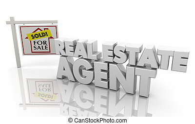 Real Estate Agent Agency Sell Buy Home House Sign 3d Illustration