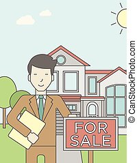 Real estate agent. - An asian real estate agent holding the ...