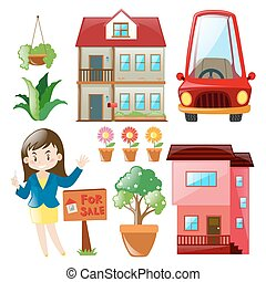 Real estate agent and buildings illustration