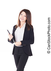 Real estate agent businesswoman on white background