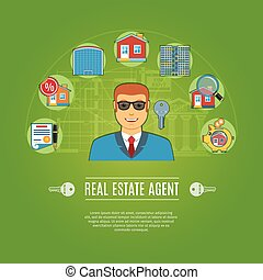Real Estate Agent Concept Icons Set. Vector illustration