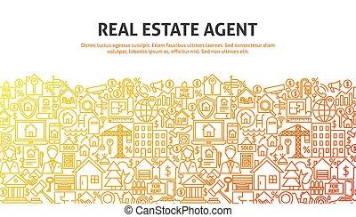 Real Estate Agent Concept. Vector Illustration of Line Website Design. Banner Template.