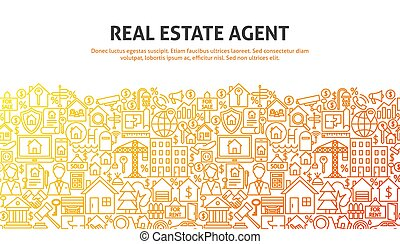Real Estate Agent Concept. Vector Illustration of Line...