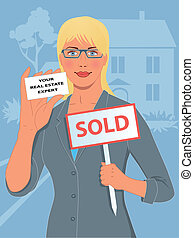 Real estate agent - Female realtor holding a sold sign and a...