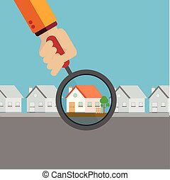 Real estate agent finding your dream home with a magnifying glass vector concept