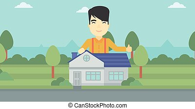 Real estate agent giving thumb up.