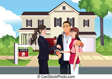Real estate agent in front of a sold house with her customer...