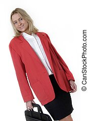 Real estate agent in red business jacket