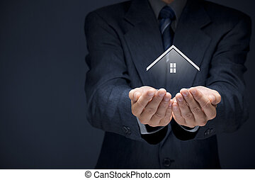 Real estate agent offer house. Property insurance and...