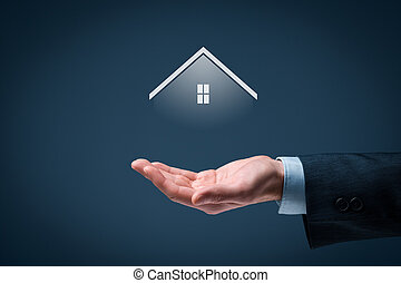 Real estate agent offer house. Property insurance, mortgage...